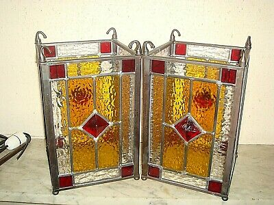 Pair of Victorian Style Leaded,Stained Glass Hall Lanterns,Ceiling Lamp Shade