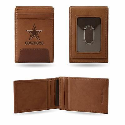 Dallas Cowboys - NFL - Brown Leather Money Clip Front Pocket Wallet