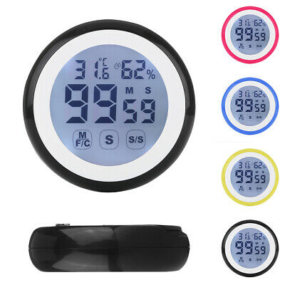 Touch screen timer alarm temperature and humidity meter