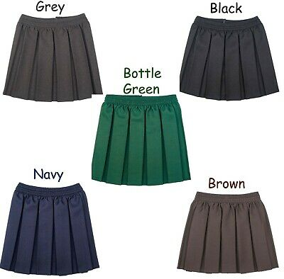 Girls School Uniform Skirt Box Pleated All round Elasticated age 3-18
