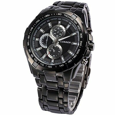 Curren Chronograph Luxury Fashion Quartz Analog Watch Black F/S