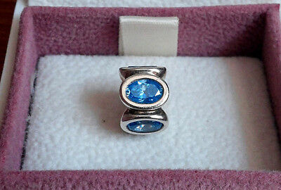 Authentic Pandora 925 ALE Silver Blue Oval Lights  Charm 790311CZB Retired