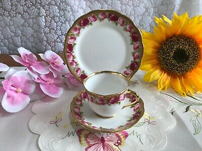 Royal Albert Crown China 6363 Rose Gold Tea Cup & Saucer & Side Plate