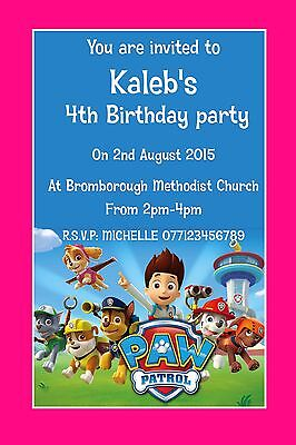 PAW PATROL Personalised Party Invitation Invite Birthday X10 GIRL BOY
