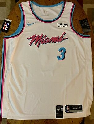 official photos 399a3 56191 NWOT DWYANE WADE #3 Miami Heat Vice City Edition NBA Nike Swingman Jersey  XL 52