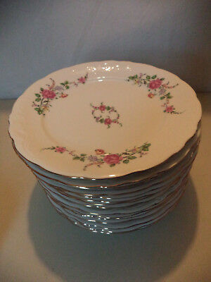 15 Royal Kent Poland Floral Rose Embossed Gold Gilt Porcelain Dinner Plates!