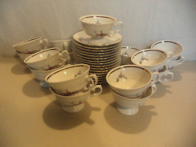 16 Royal Kent Poland Floral Rose Embossed Gold Gilt Porcelain Footed Cups Saucer