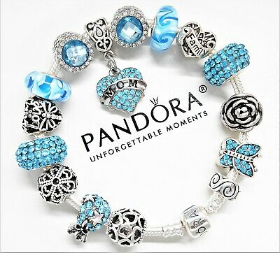 Authentic Pandora Silver Charm Bracelet MOM LOVE FAMILY MOTHER European Beads...