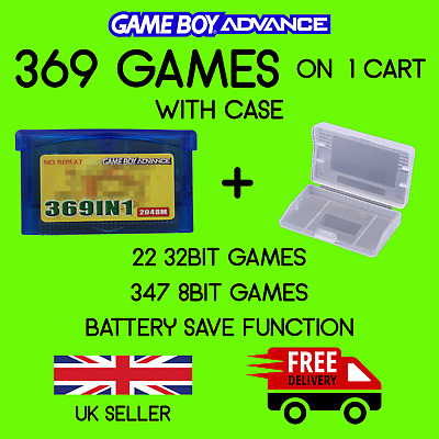 GBA Games. 369 in 1 Game Cart (+ CASE) for Nintendo Game Boy Advance & NDS