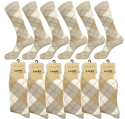 1-3-6- 12 Pk Argyle Diamond BEIGE Dress Socks Groomsmen Cotton Socks 10-13