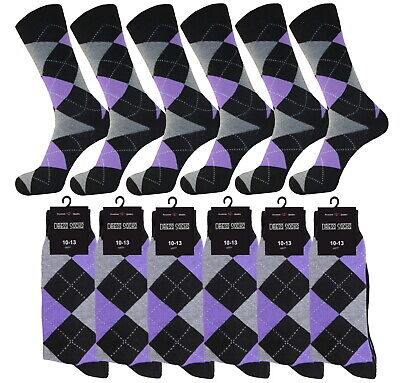 1-3-6- 12 Pk Argyle Diamond AMETHIST Dress Socks Groomsmen Cotton Socks 10-13