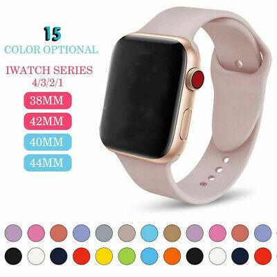 For Apple Watch Wristband Soft Silicone Replacement Series 1 2 3 4-38/40/42/44mm