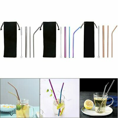 3x Stainless Steel Extra Wide Drinking Straw Straws Bubble Tea + Brush bag Cloth