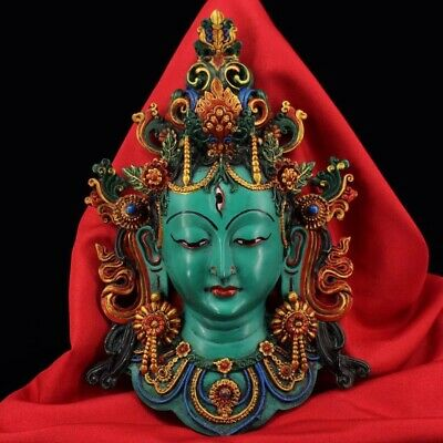 Chinese Tibetan temple collection hand painted Green Tara mask