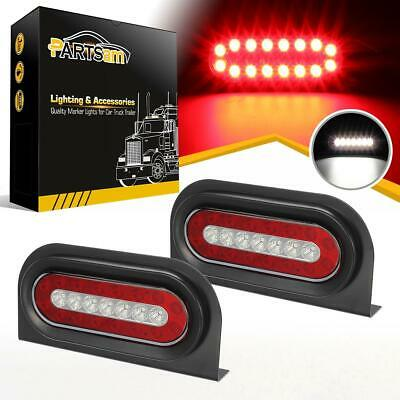 """2x6"""" Oval Red/White 23 LED Stop Turn Tail Reverse Truck Trailer Lights w/Bracket"""