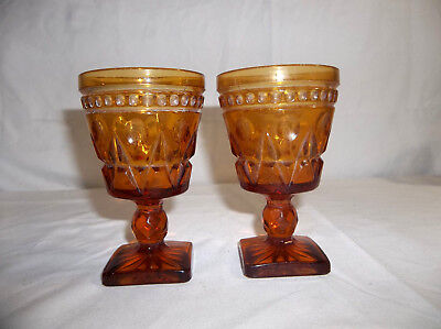 Indiana Glass Set of 2 Park Lane Amber Square Footed Goblets