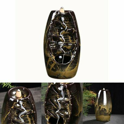 Ceramic Waterfall Backflow Smoke Incense Burner Censer Holder Decor 10 Cones FO