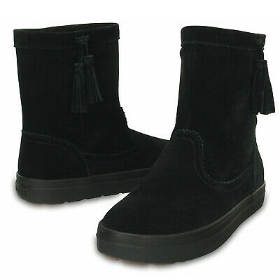 Crocs LodgePoint Women's Suede Leather Pull On Boots Shoes - Black