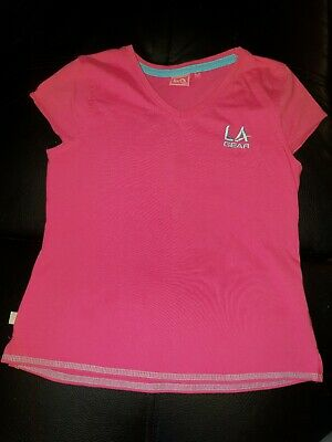 LA GEAR girls size 11 -12 HOT PINK SPORTS TSHIRT TOP YOGA TENNIS  ACTIVE WEAR