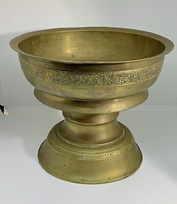 Large Vintage Chinese Footed Brass Temple Bowl