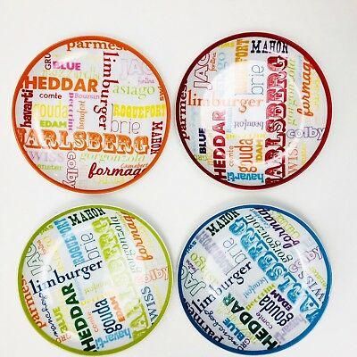 """Pier 1 Imports World Cheese Plate Set of 4 Assorted Plates Appetizers 6.5"""""""