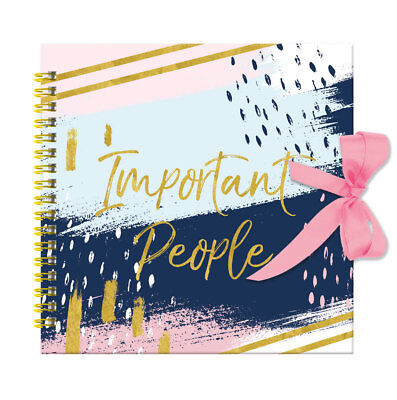 Important People Pastel Anneau Bound Hardcover Telephone Address Book Ribbon Tie