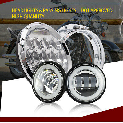 "7"" inch Round 75W LED Headlight Spot Fog Passing Combo For Harley Davidson Motor"