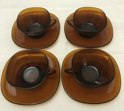 Set of (4) VINTAGE VERECO Tobacco Amber Glass Cups & Saucers. Great Condition.