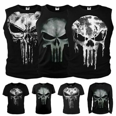 Men's Slim Sports Cosplay Tank Tops Vest The Punisher Ghost Skull Cool T-shirts