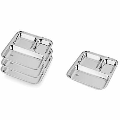 2c332cbfd214 4 X STAINLESS Steel Compartment Plates Thaal Food Serving Lunch ...