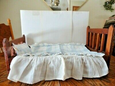 Antique Baby Doll Bed Coverlet Embroidered Dog Horseshoe Bird Goat Chicks Insect Bed & Bath Linens Bedspreads & Coverlets