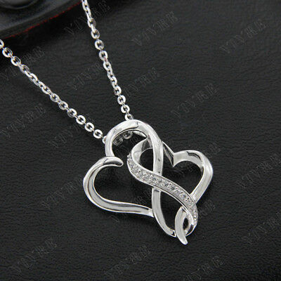 Real Diamond 0.05ct Round Cut Double Heart Pendant Necklace 925 Sterling Silver