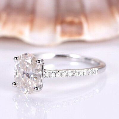 14k White Gold Over Oval & Round Cut VVS1 Diamond 1.20ct Engagement Womens Rings