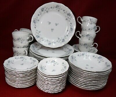 JOHANN HAVILAND china BLUE GARLAND 72-piece Set Service for 12 with Soup Bowls