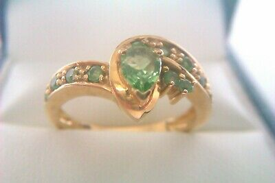 Beautiful Vintage 9ct Gold & Green Gemstone Ladies Ring 2006