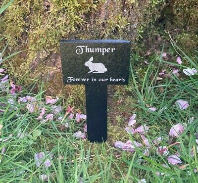 Personalised Engraved Small Pet Memorial Slate Grave Marker Plaque Stake Rabbit