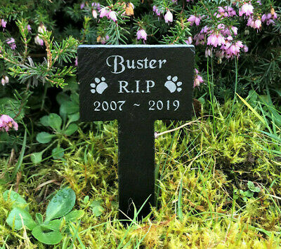 Personalised Engraved Pet Memorial Small Slate Grave Marker Plaque Stake Dog Cat