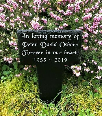 Personalised Engraved Natural Slate Memorial Stake Grave Marker Plaque