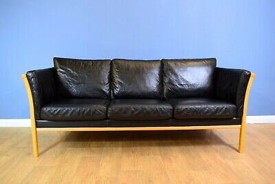 Mid Century Retro Danish Stouby Style 3 Seater Black Leather Sofa Settee 1980s