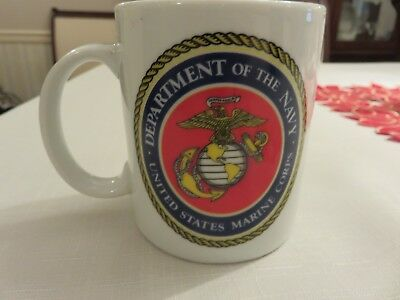 "Department of the Navy United States Marine Corps 3 7/8"" Ceramic Mug EUC"