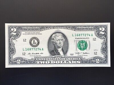 """Wow 2009 $2 TWO DOLLAR BILL ( San Francisco """"L"""" ) About UNCIRCULATED"""