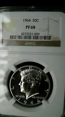 1964 Ngc Proof 68 Beautiful All White Kennedy Half!  No Toning!  Gem!