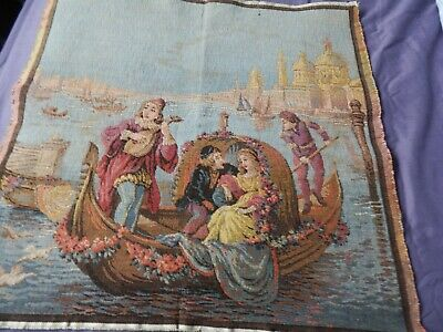 """French Tapestry of Gondola in Venice 19.5"""" x 19.5"""" beautiful quality"""