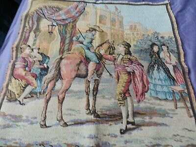 """French Tapestry of A Matador with horse & Ladies 19.5"""" x 19.5"""" beautiful quality"""