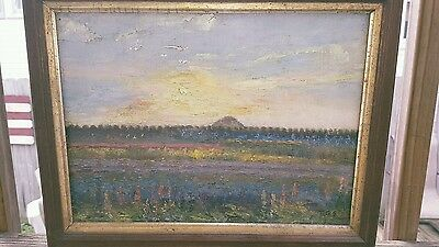 Famous Antique Haystack/sunset Impressionist Oil Painting Sign  1800/1900's Old