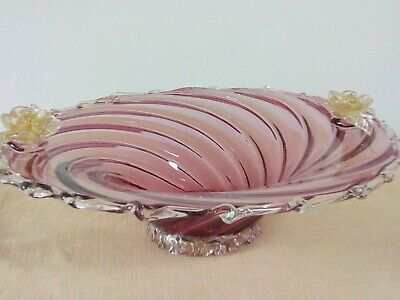 Vintage Murano pink red glass swirl fruit bowl with applied flower gold detail