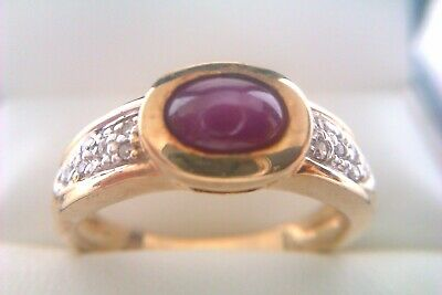 Beautiful Vintage 9ct Gold Cabochon Star Ruby & Diamond Ladies Ring 2007