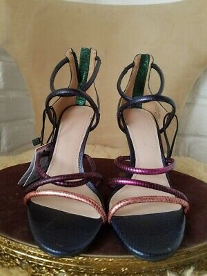 0fe93572f80 New Zara Multicolor Metallic Strappy Texture Leather Sandals Shoes High  Heels 6