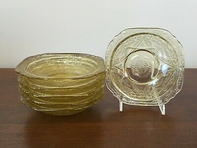 Federal Glass MADRID AMBER Yellow Depression Glass Fruit/Sauce Bowl ~ Set of 6