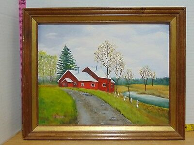 """16"""" x 13"""" Framed Painting House Cottage Forest Scene Hand Painted Signed Roehm"""